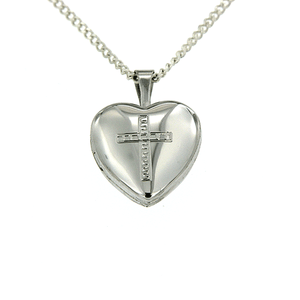 Sterling Silverheart Shape Cross Locket