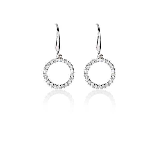 Sterling silver cubic zirconia circle of life drop earrings