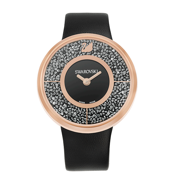 Swarovski Crystalline Black Rose Gold Tone Watch