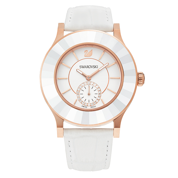 Swarovski Octea Classica White Rose Gold Tone Watch