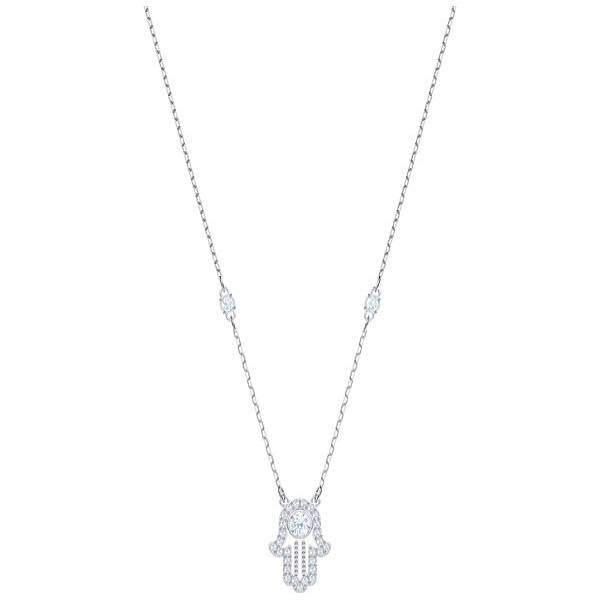 Swarovski Rhodium Luckily Hamsa Hand Necklace