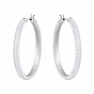 Swarovski Rhodium Stone Hoop Earrings
