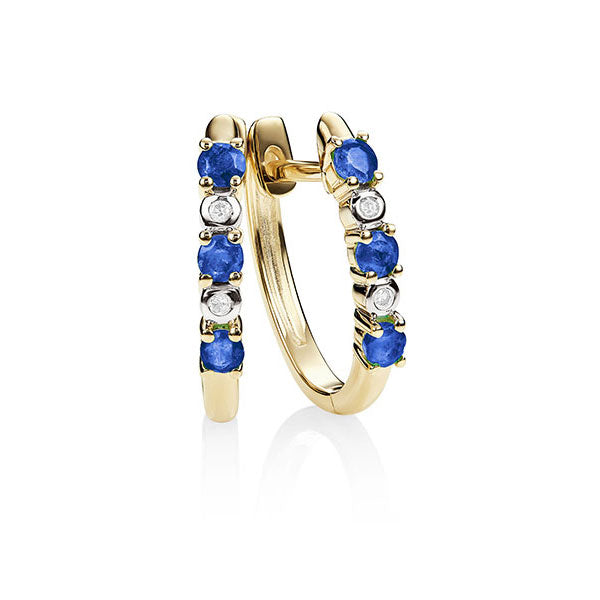 9Ct Gold Created Sapphire & Diamond Huggies