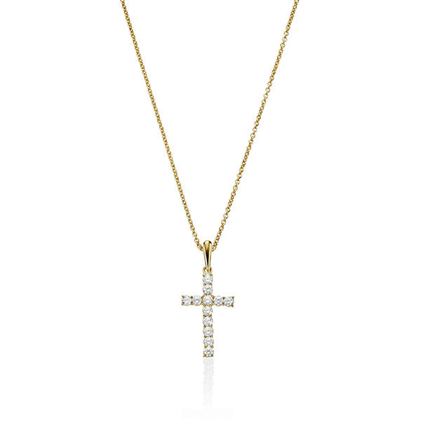 9Ct Gold Cubic Zirconia Cross Pendant