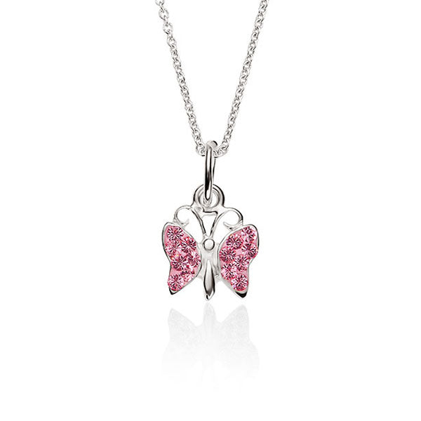 Sterling Silver Pink Cubic Zirconia Butterfly Pendant