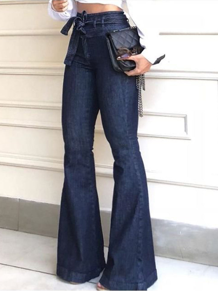 Deep Blue Plain Casual Denim Pants