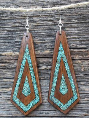 Diamond geometry wood color retro simple imitation log Earrings