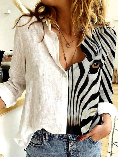 Cotton Linen Zebra Print Loose Long Sleeve Blouse
