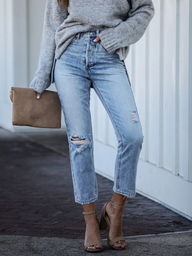 Blue Casual Denim Pants