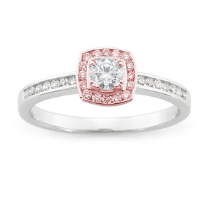 DIAMOND HALO RBC RING PINK CAVIAR IN 9CT WHITE & ROSE GOLD (0.20CT CENTRE, SI3 JK) TDW 0.42CT