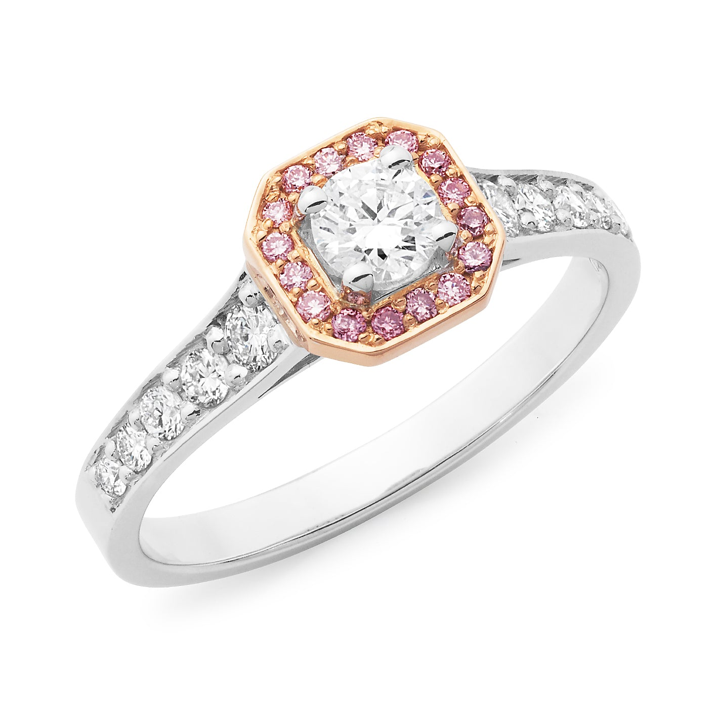 DIAMOND CLAW/BEAD SET RBC RING PINK CAVIAR IN 18CT WHITE & ROSE GOLD (0.25CT CENTRE, SI GH) TDW 0.60CT