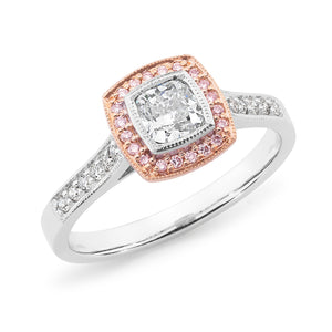 DIAMOND HALO CUSHION RING PINK CAVIAR IN 18CT WHITE & ROSE GOLD (0.50CT CENTRE, SI GH) TDW 0.69CT