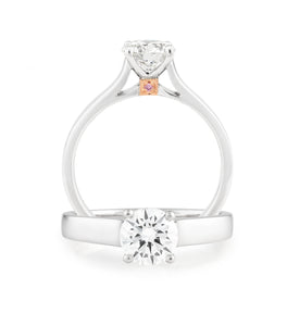 DIAMOND CLAW SET RBC RING PINK CAVIAR IN 18CT WHITE & ROSE GOLD (0.50CT CENTRE, SI GH) TDW 0.51CT