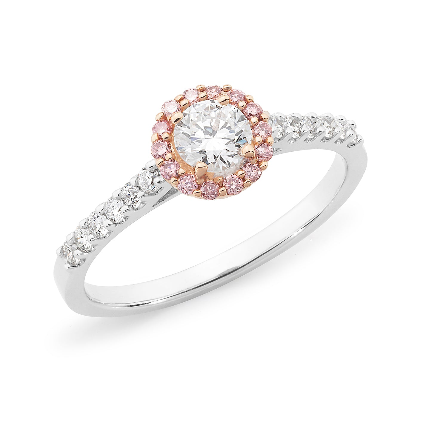 DIAMOND HALO RBC RING PINK CAVIAR IN 18CT WHITE & ROSE GOLD (0.33CT CENTRE, SI GH) TDW 0.615CT