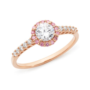 DIAMOND HALO RBC RING PINK CAVIAR IN 18CT ROSE GOLD (0.50CT CENTRE, SI GH) TDW 0.72CT