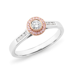 DIAMOND HALO RBC RING PINK CAVIAR IN 18CT WHITE & ROSE GOLD (0.17CT CENTRE, SI GH) TDW 0.34CT