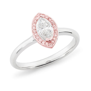 DIAMOND CLAW/BEAD SET MARQUISE RING PINK CAVIAR IN 18CT WHITE & ROSE GOLD (0.50CT CENTRE, SI GH) TDW 0.61CT