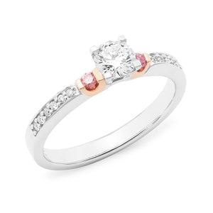DIAMOND CLAW/BEAD SET RBC RING PINK CAVIAR IN 18CT WHITE & ROSE GOLD (0.40CT CENTRE, SI GH) TDW 0.565CT