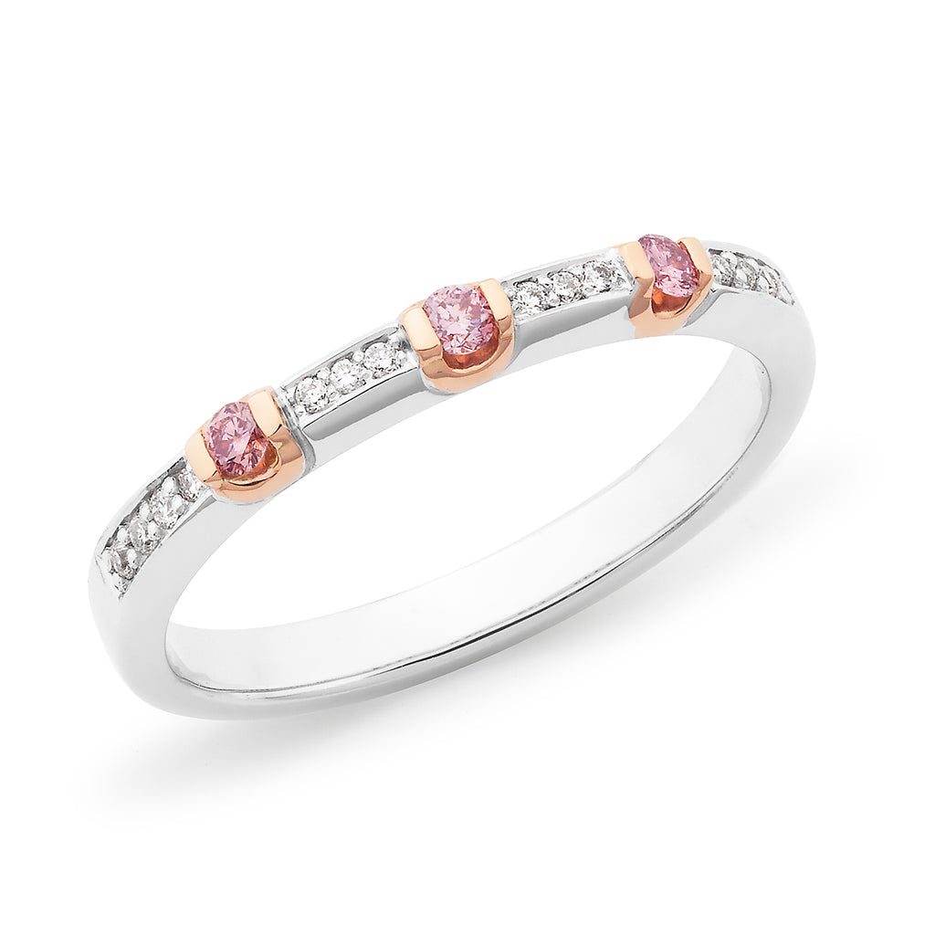 DIAMOND BAR/BEAD SET WEDDING RING PINK CAVIAR IN 18CT WHITE & ROSE GOLD (SI GH) TDW 0.16CT