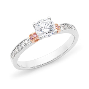 DIAMOND CLAW/BEAD SET RBC RING PINK CAVIAR IN 18CT WHITE & ROSE GOLD (0.50CT CENTRE, SI GH) TDW 0.65CT