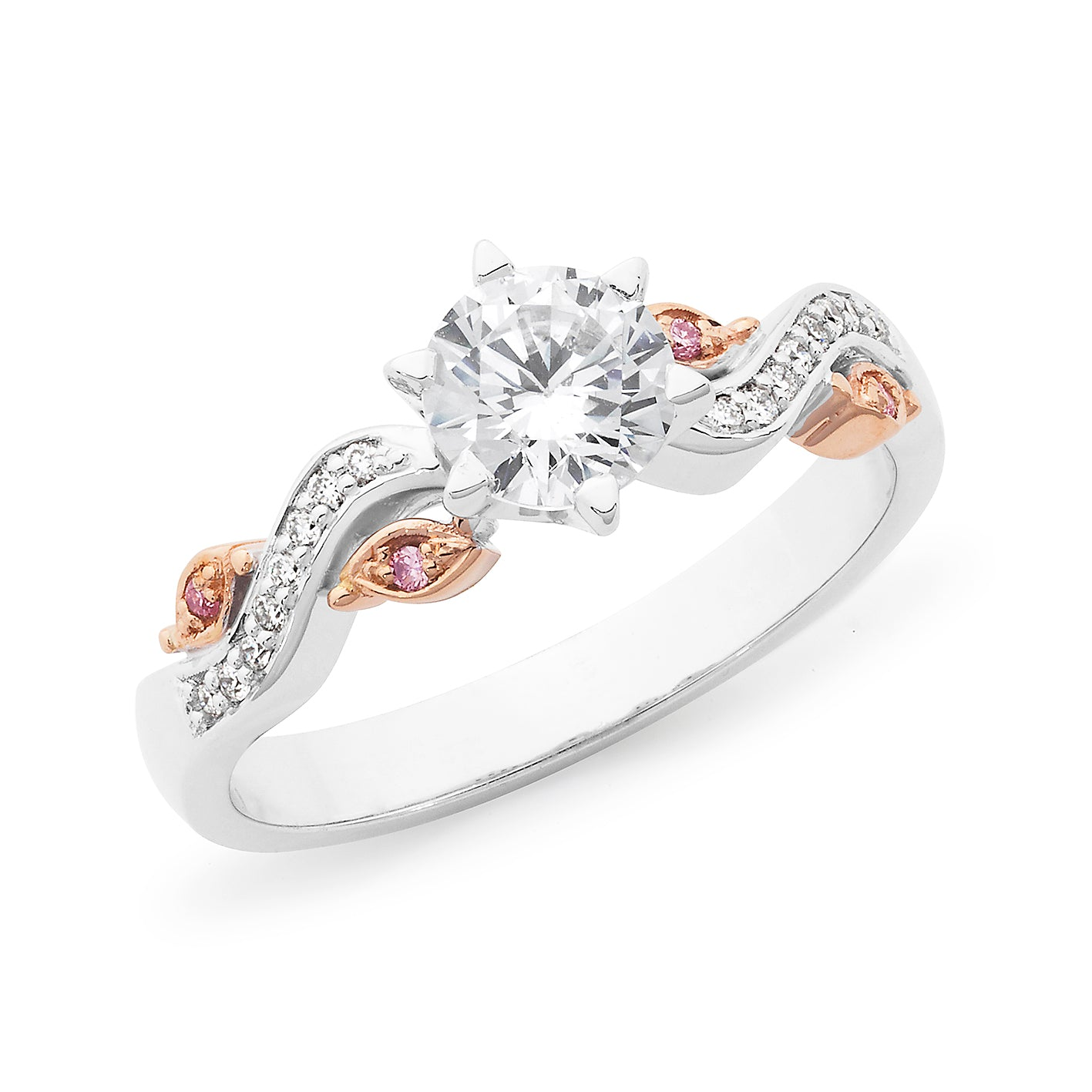 DIAMOND CLAW/BEAD SET RBC RING PINK CAVIAR IN 18CT WHITE & ROSE GOLD (0.70CT CENTRE, SI GH) TDW 0.80CT