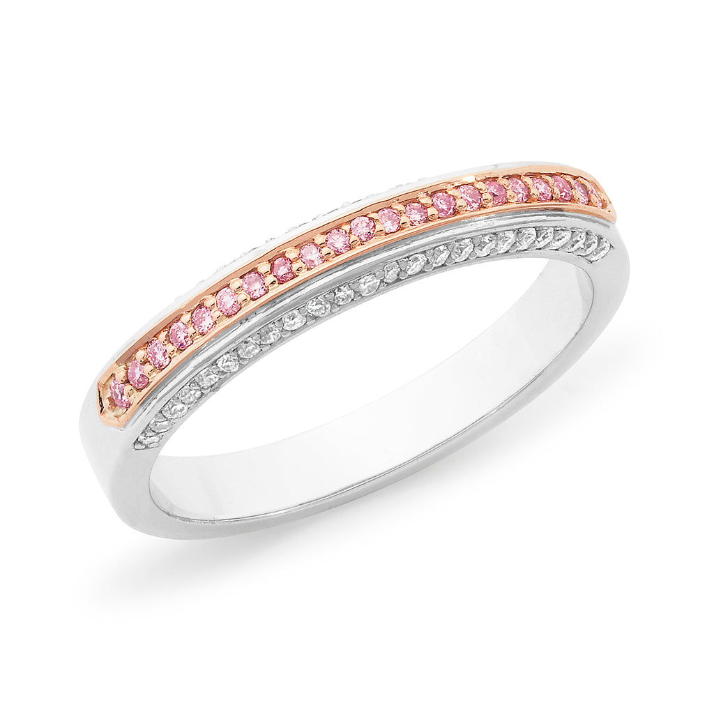 DIAMOND BEAD SET WEDDING RING PINK CAVIAR IN 18CT WHITE & ROSE GOLD (SI GH) TDW 0.345CT