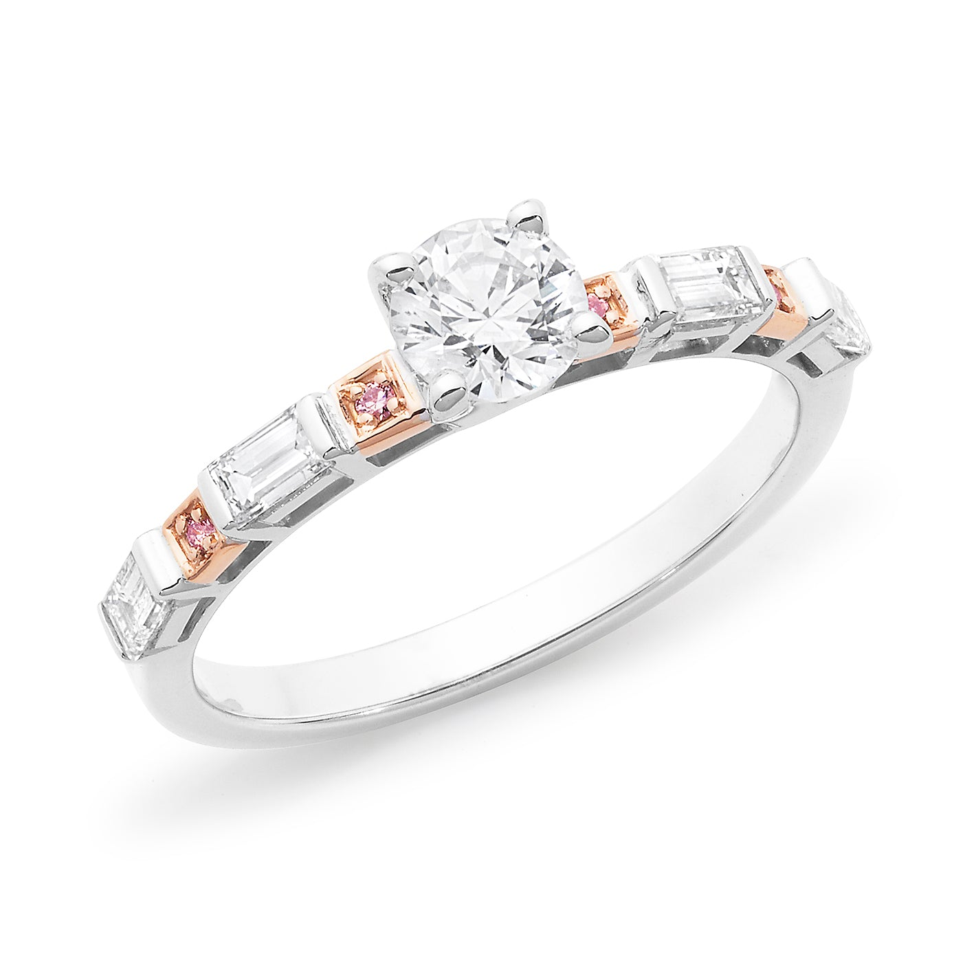 DIAMOND CLAW/BEAD SET RBC RING PINK CAVIAR IN 18CT WHITE & ROSE GOLD (0.50CT CENTRE, SI GH) TDW 0.92CT