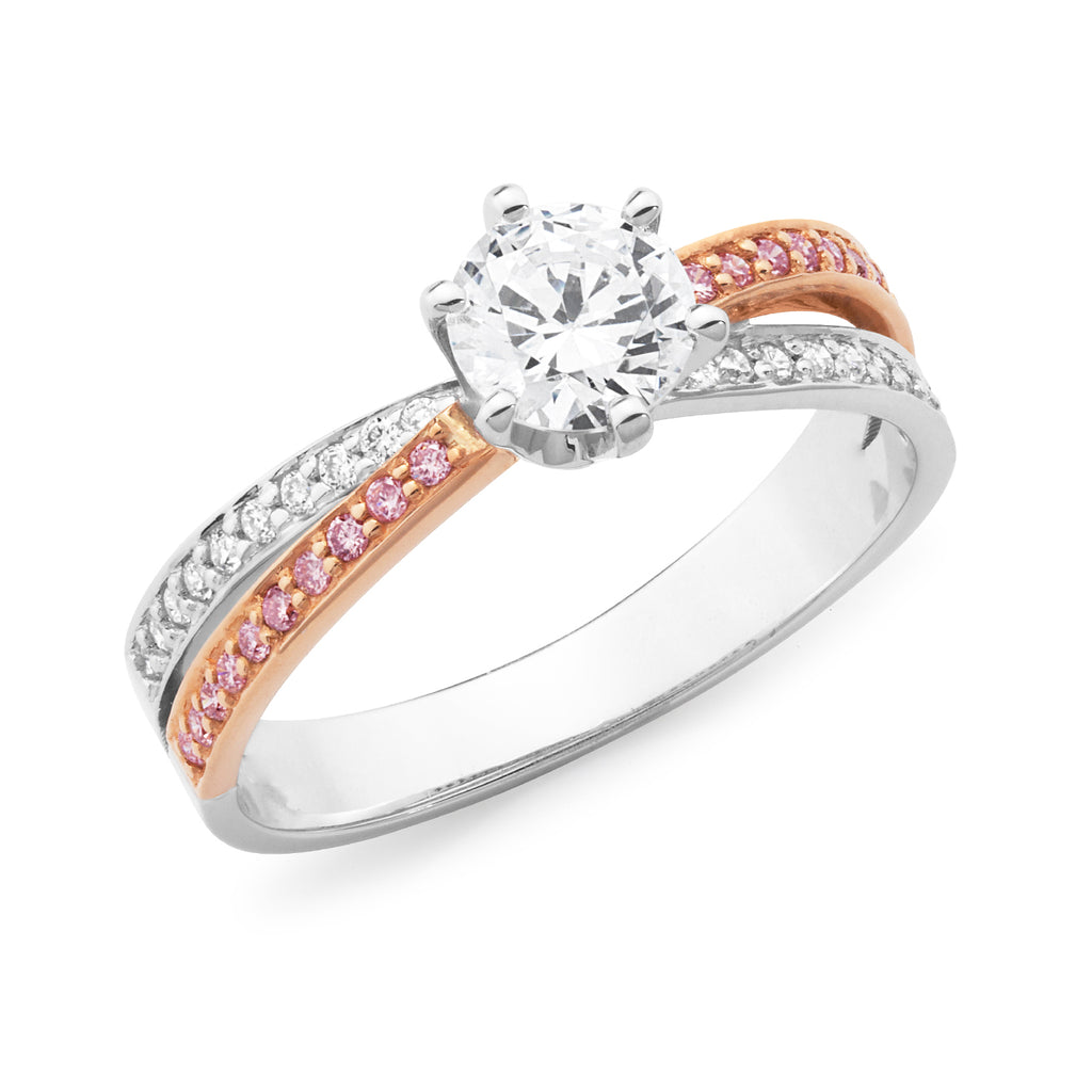 DIAMOND CLAW/BEAD SET RBC RING PINK CAVIAR IN 18CT WHITE & ROSE GOLD (0.50CT CENTRE, SI GH) TDW 0.70CT