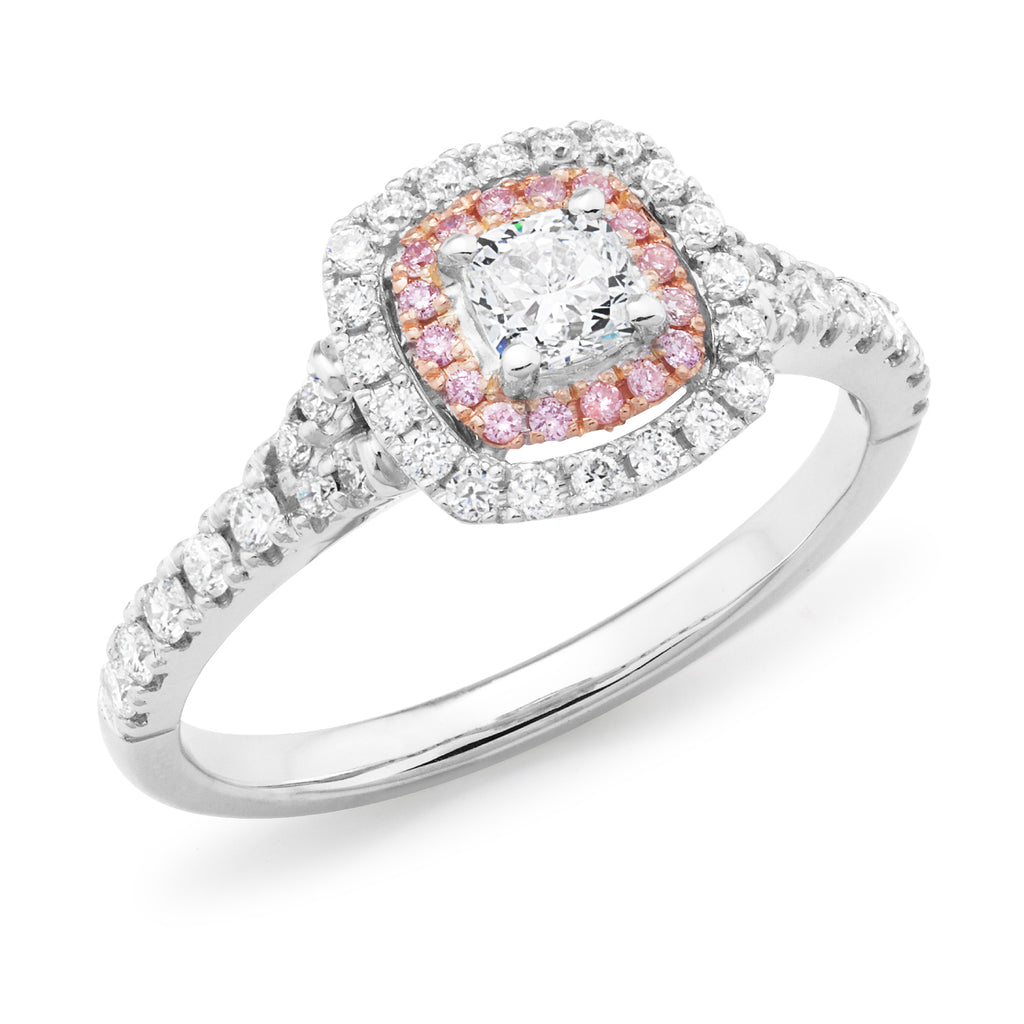 DIAMOND CLAW SET CUSHION DOUBLE HALO RING PINK CAVIAR IN 18CT WHITE & ROSE GOLD (0.30CT CENTRE, SI GH) TDW 0.79CT