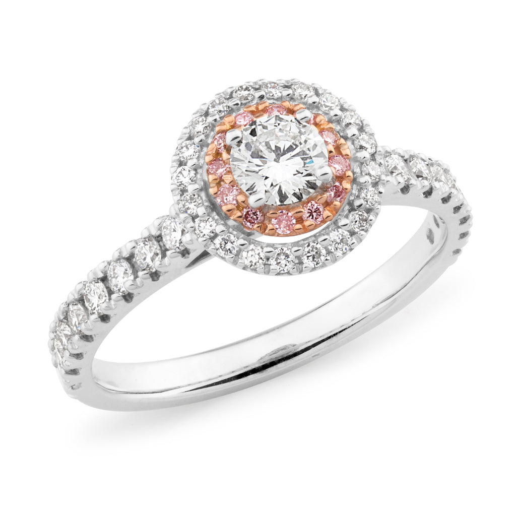 DIAMOND CLAW SET RBC DOUBLE HALO PINK CAVIAR IN 18CT WHITE & ROSE GOLD (0.25CT CENTRE, SI GH) TDW 0.73CT