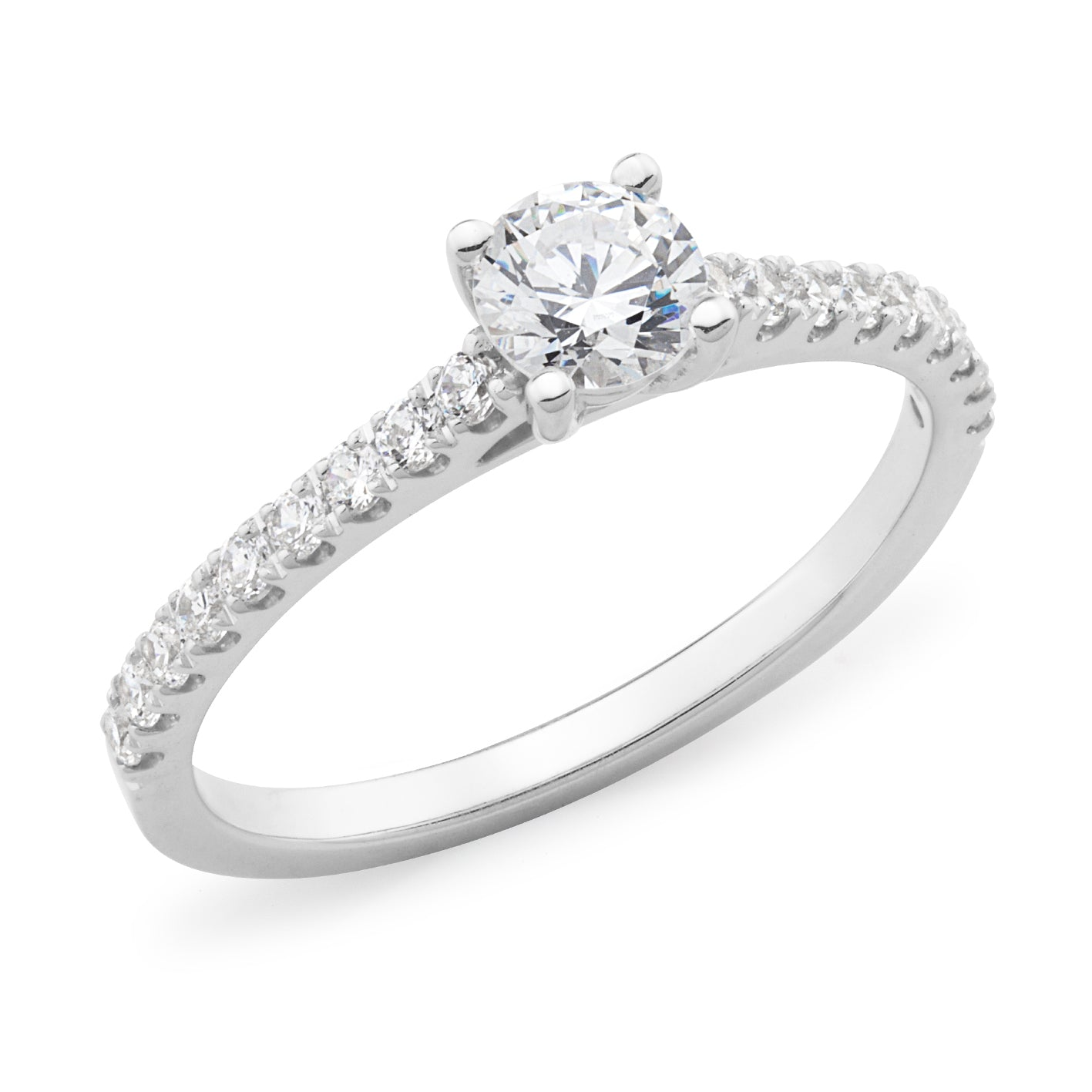 DIAMOND CLAW SET RBC ENGAGEMENT RING IN 18CT WHITE GOLD (0.40CT CENTRE, SI GH) TDW 0.76CT