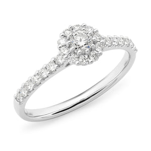 DIAMOND CLAW SET RBC HALO ENGAGEMENT RING IN 9CT WHITE GOLD (0.17CT CENTRE, SI3 JK) TDW 0.53CT