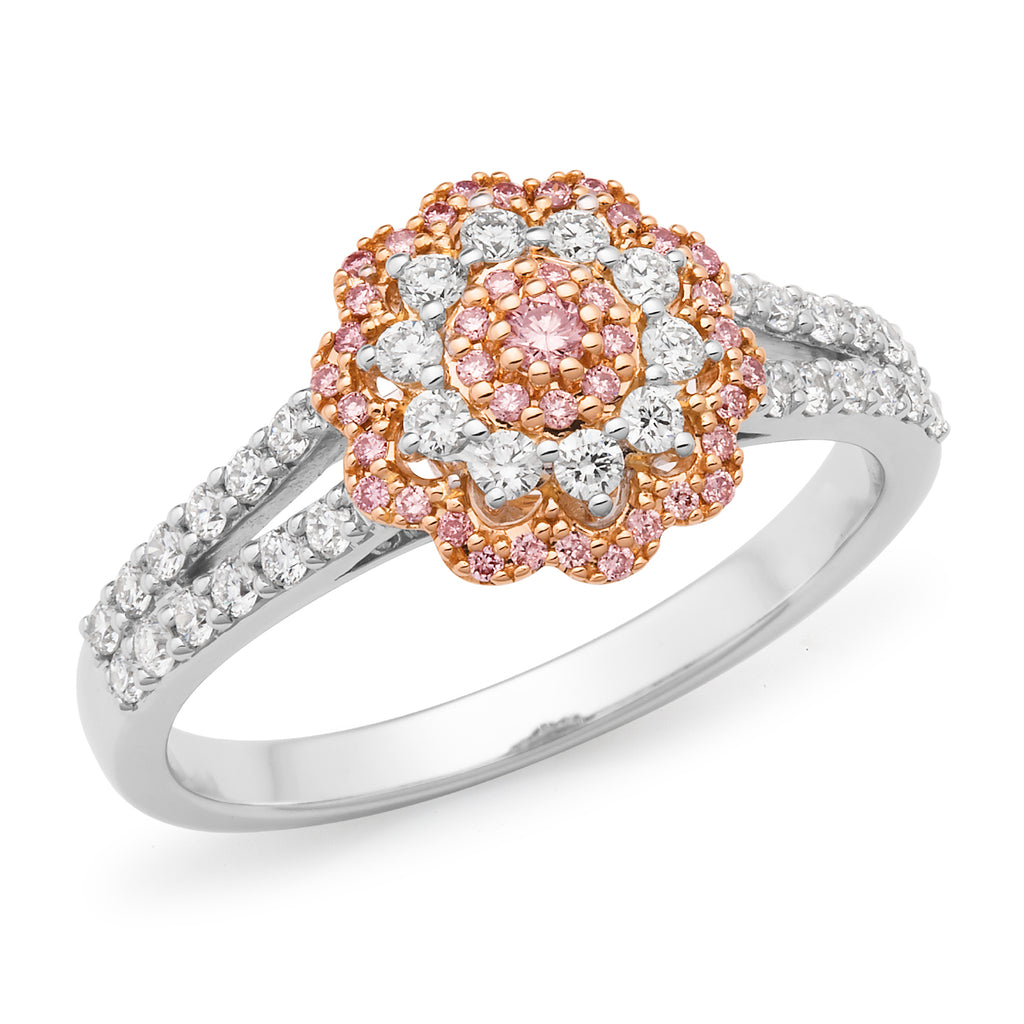 DIAMOND BEAD SET RBC FLORAL RING PINK CAVIAR IN 18CT WHITE & ROSE GOLD (SI GH) TDW 0.615CT