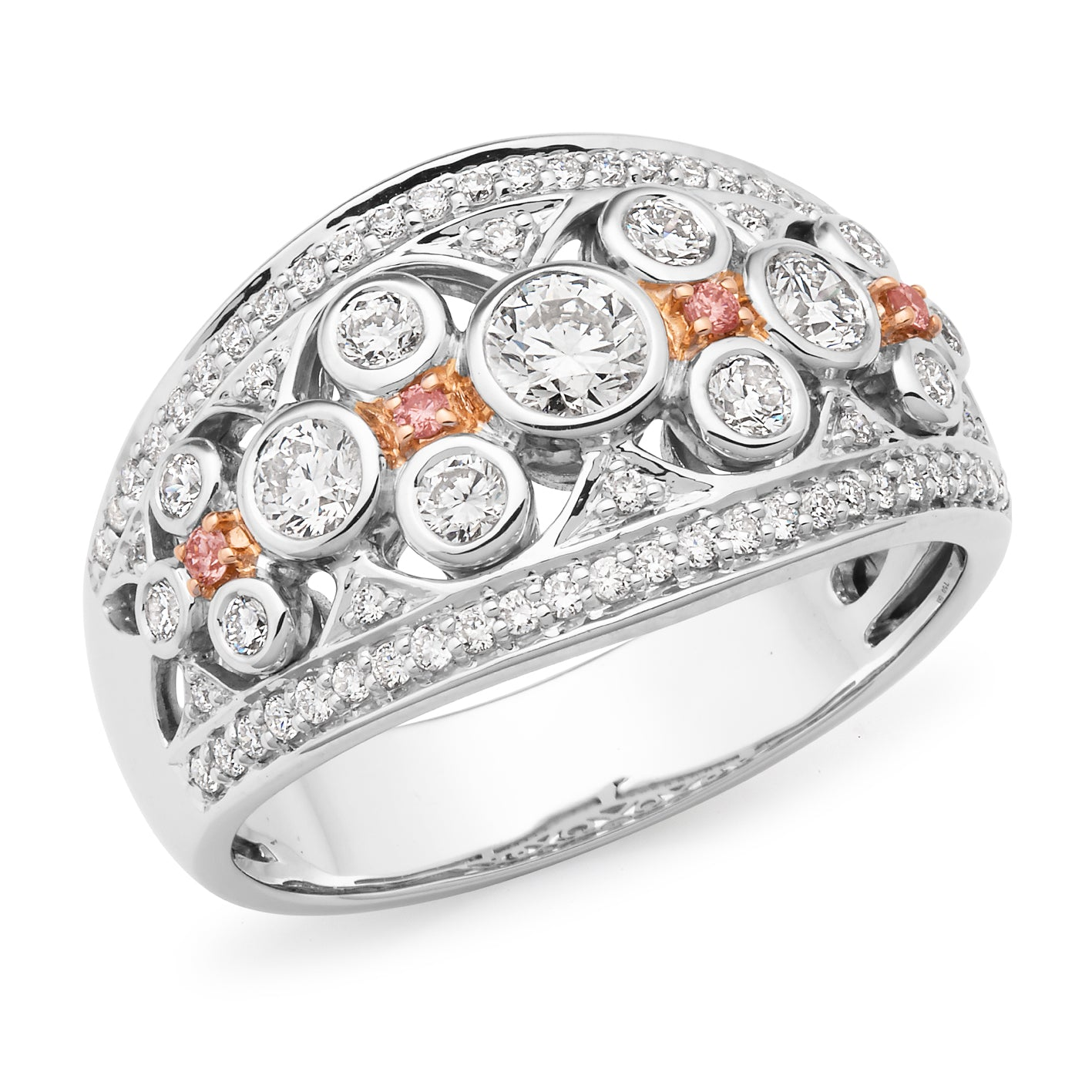 DIAMOND BEZEL/BEAD SET RING PINK CAVIAR IN 9CT WHITE & ROSE GOLD (SI3 JK)  TDW 0.99CT