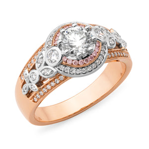 DIAMOND CLAW/BEAD SET RING PINK CAVIAR IN 9CT ROSE & WHITE GOLD (SI3 JK)  TDW 1.24CT