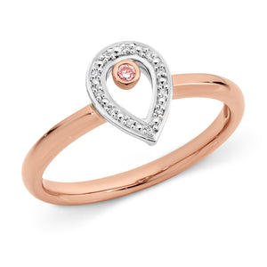 DIAMOND BEZEL/BEAD SET RING PINK CAVIAR IN 9CT ROSE & WHITE GOLD TDW 0.037CT