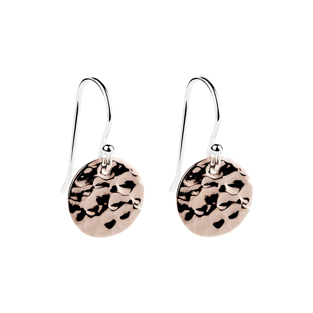 12X21MM ROSE GOLD (14K 1MC) PLATED BEATEN SILVER DISC ON SILVER HOOK, ANTITARNISH