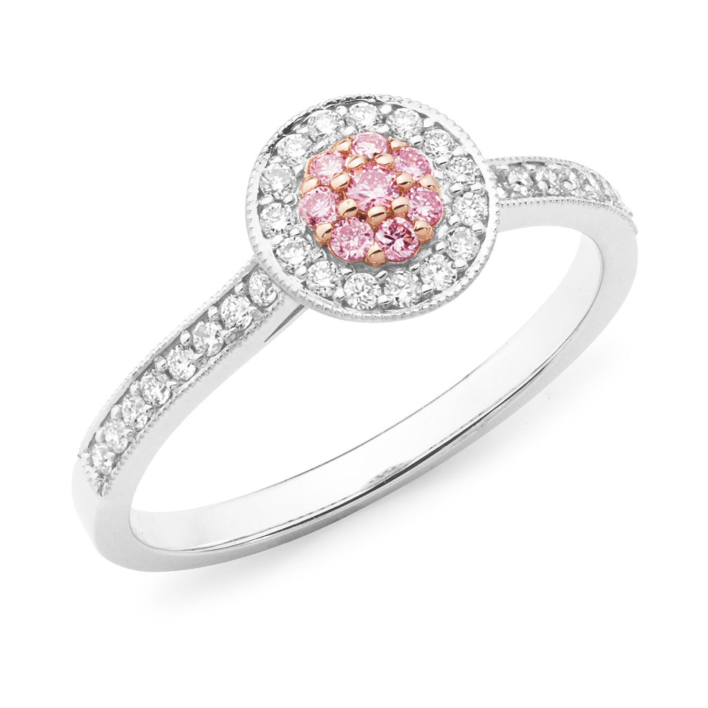 DIAMOND BEAD SET RBC CLUSTER RING PINK CAVIAR IN 18CT WHITE & ROSE GOLD (SI GH) TDW 0.3225CT