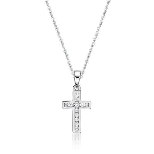 12X CZ CHANNEL SET CROSS WITH CHAIN