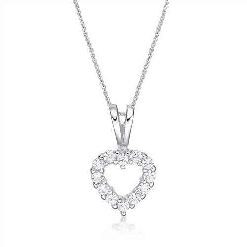 HEART, 12X CZ, SPLIT BAIL WH WITH CHAIN