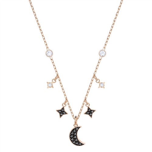 DUO:NECKLACE MOON JET/CRY/ROS