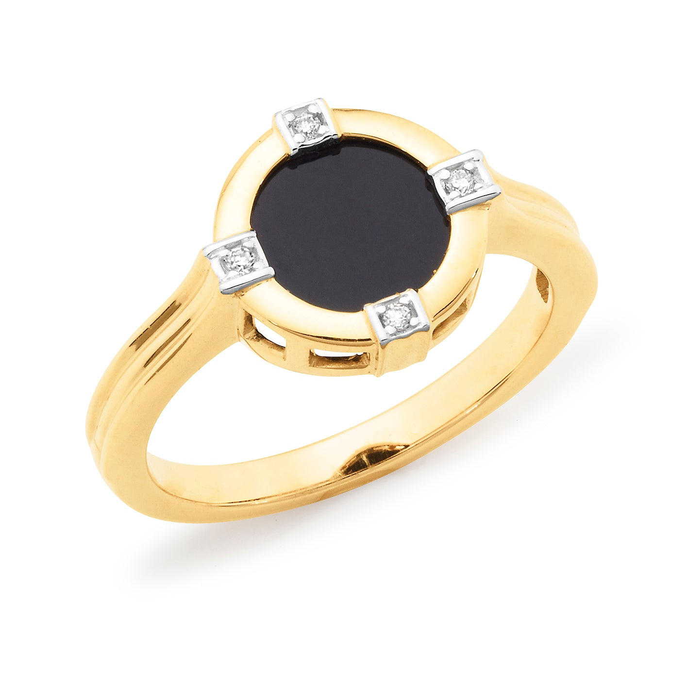 ONYX & DIAMOND (SI3 JK) BEZEL/BEAD SET COLOURED STONE DRESS RING IN 9CT YELLOW GOLD TDW 0.02CT