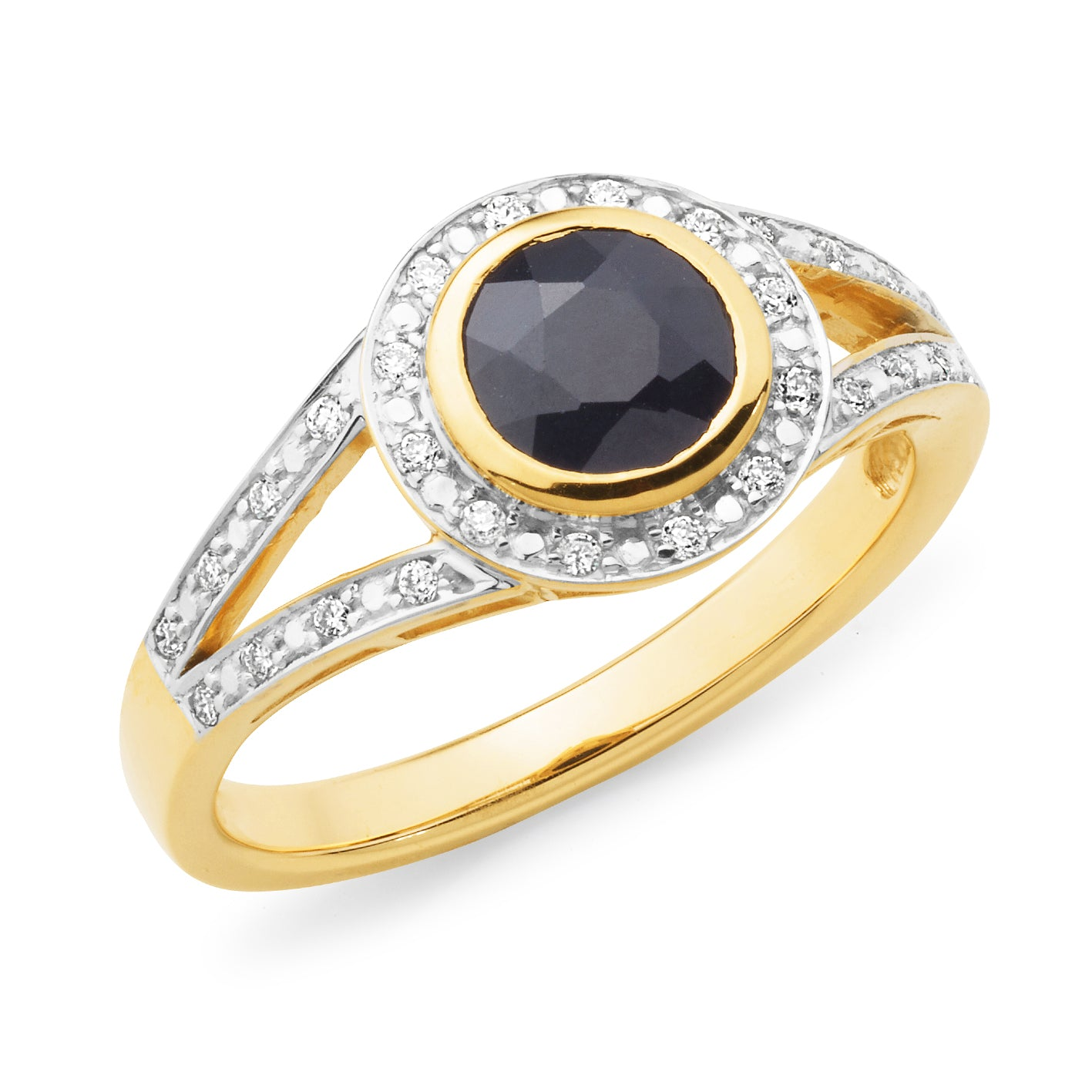 SAPPHIRE (D GRADE) & DIAMOND (SI3 JK) BEZEL/BEAD SET COLOURED STONE DRESS RING IN 9CT YELLOW GOLD TDW 0.14CT