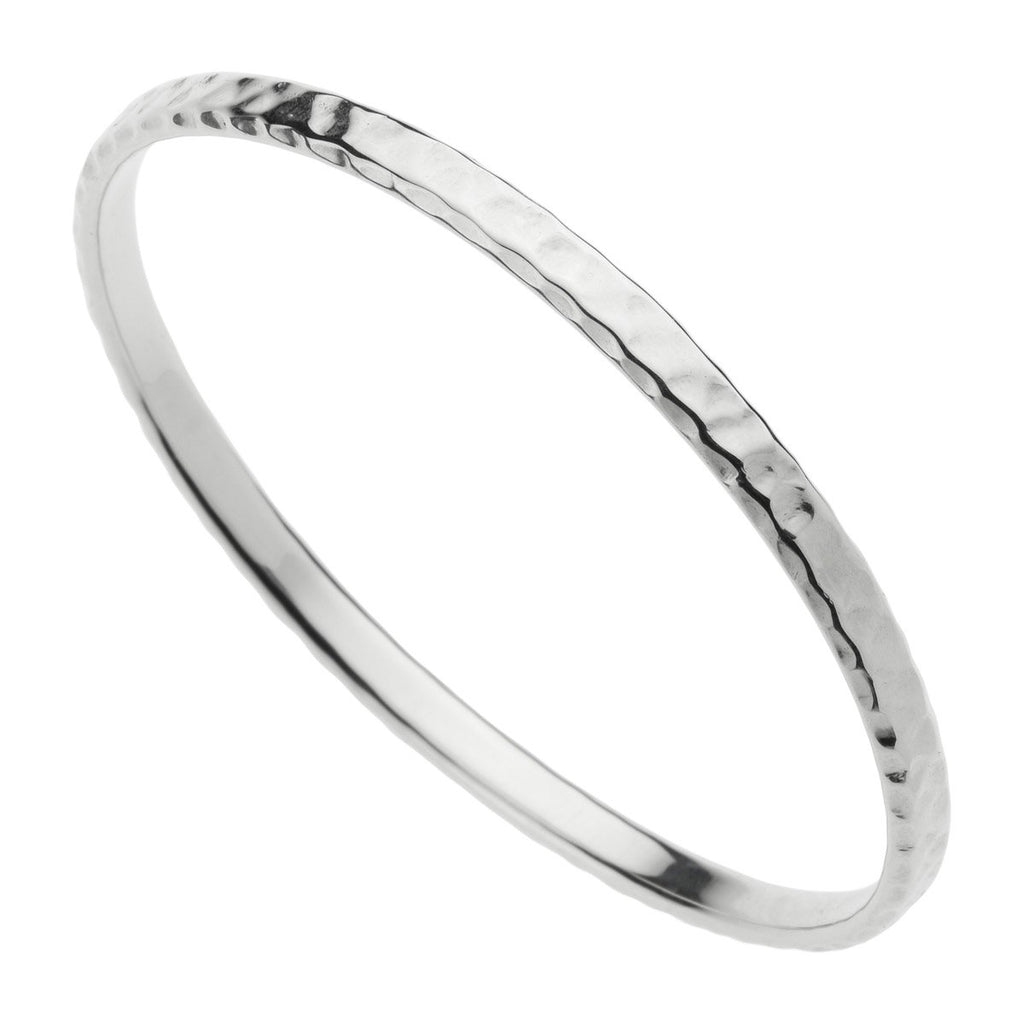 2.5X5MM OVAL PROFILE, HOLLOW TUBE, SILVER BEATEN FINISH BANGLE 64MM ID
