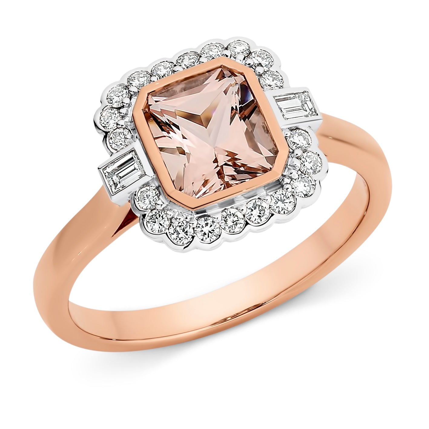 MORGANITE & DIAMOND (SI3 JK) BEZEL SET DRESS RING IN 9CT ROSE/WHITE GOLD TDW 0.26CT