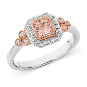 MORGANITE & DIAMOND (SI3 JK) BEZEL SET DRESS RING IN 9CT WHITE/ROSE GOLD TDW 0.17CT