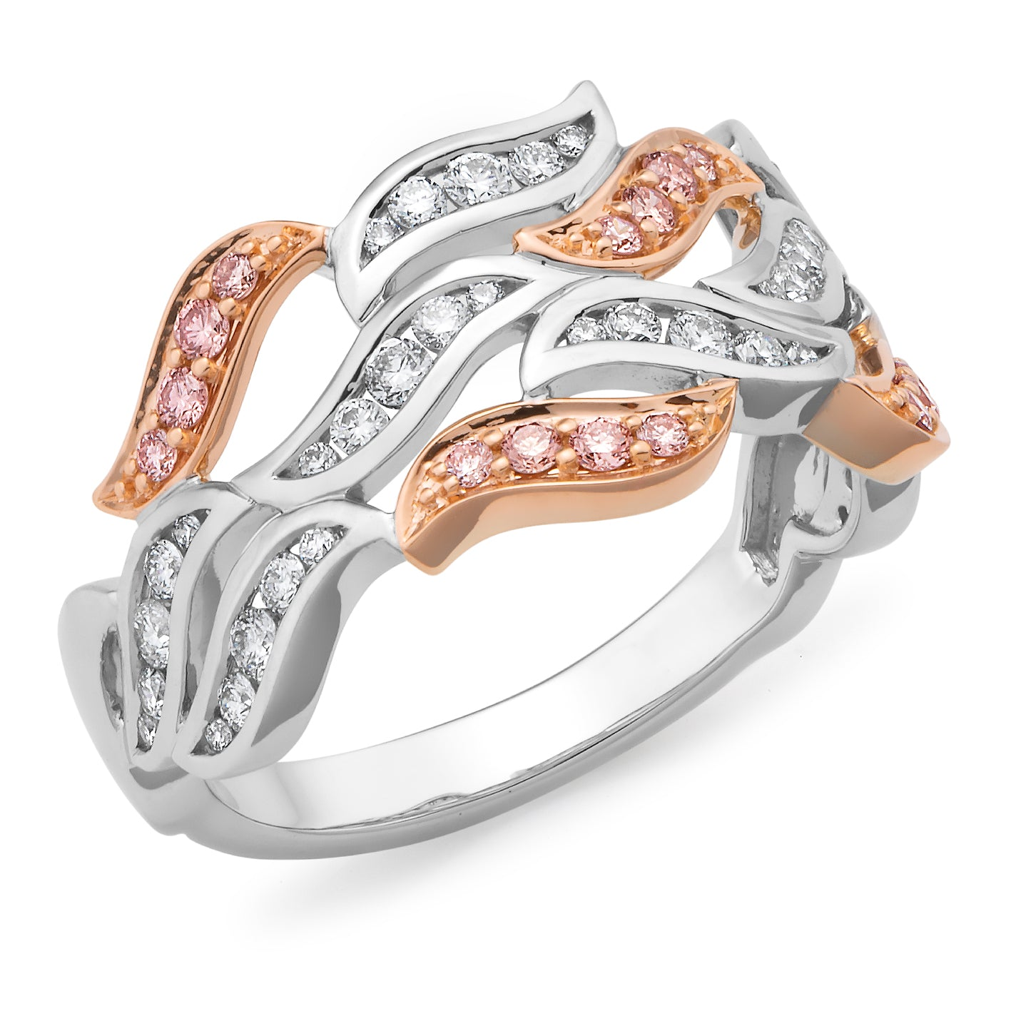 DIAMOND BEAD SET RING PINK CAVIAR IN 9CT WHITE & ROSE GOLD (SI3 JK)         TDW 0.58CT