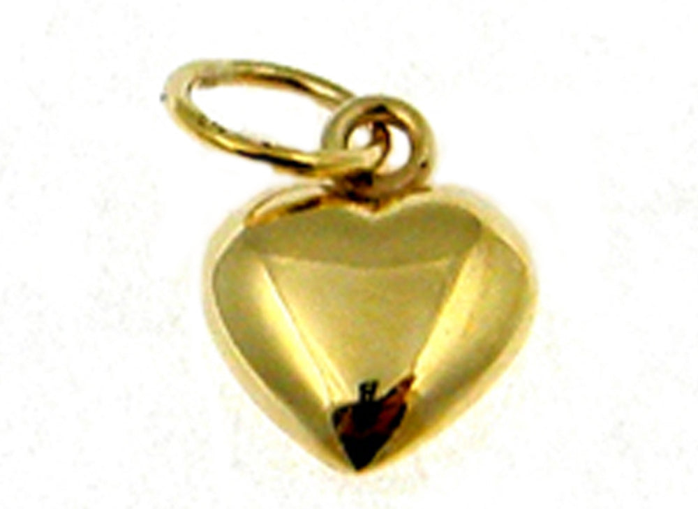 9CT YELLOW GOLD HEART PENDANT 9MM