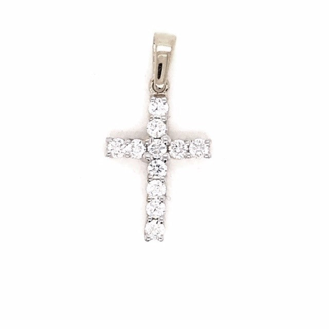 9CT W/G DIAMOND CROSS PENDANT 11 D =0.55PTS