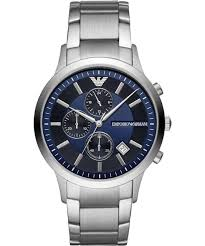 EMPIRO ARMANI MEN'S CHRONOGRAPH DATE BRACELET STRAP WATCH, SILVER/BLUE